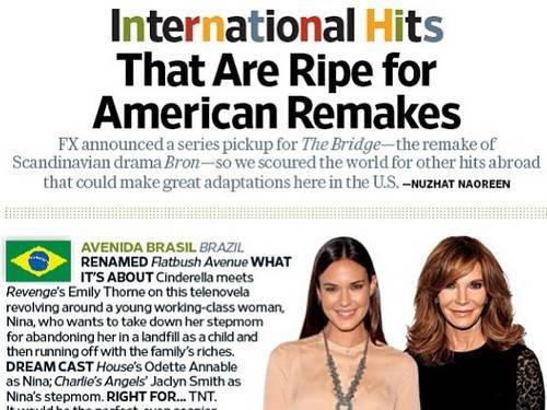 "Revista Entertainment Weekly faz campanha por série derivada de ""Avenida Brasil"""