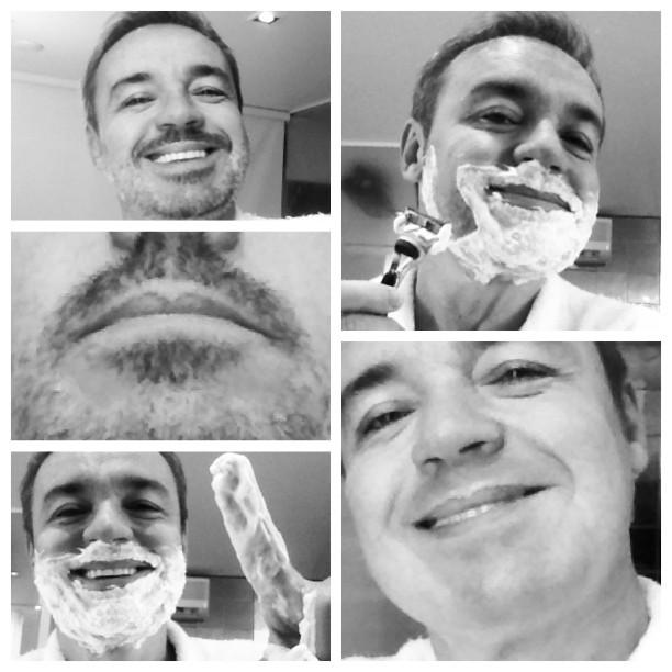 Gugu se barbeando para voltar as gravações