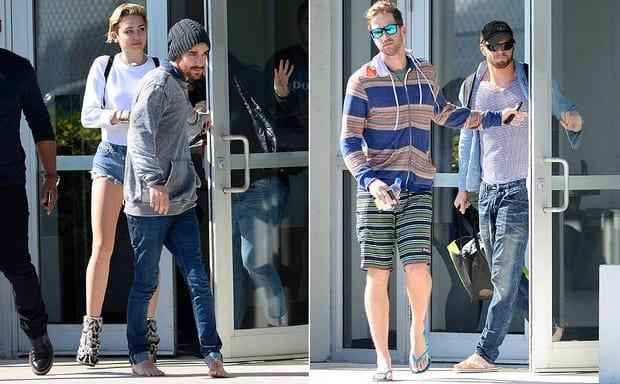 Miley desembarca em Miami na mesma comitiva de Kellan Lutz