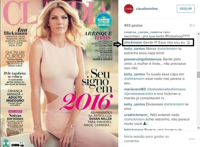 """05cb0ae98cd99 Ana Hickmann comenta photoshop em capa de revista  """"Gente! Essa não ..."""