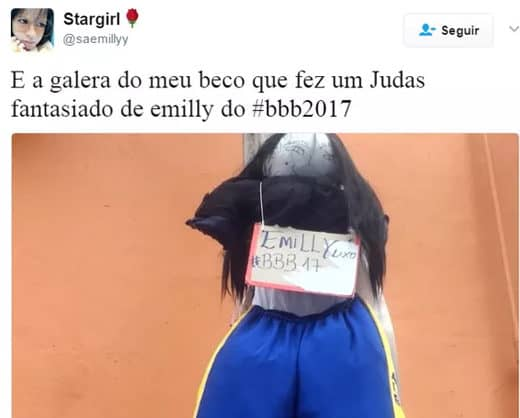 Campeã do BBB17, Emilly vira boneco Judas no Sábado de Aleluia; veja