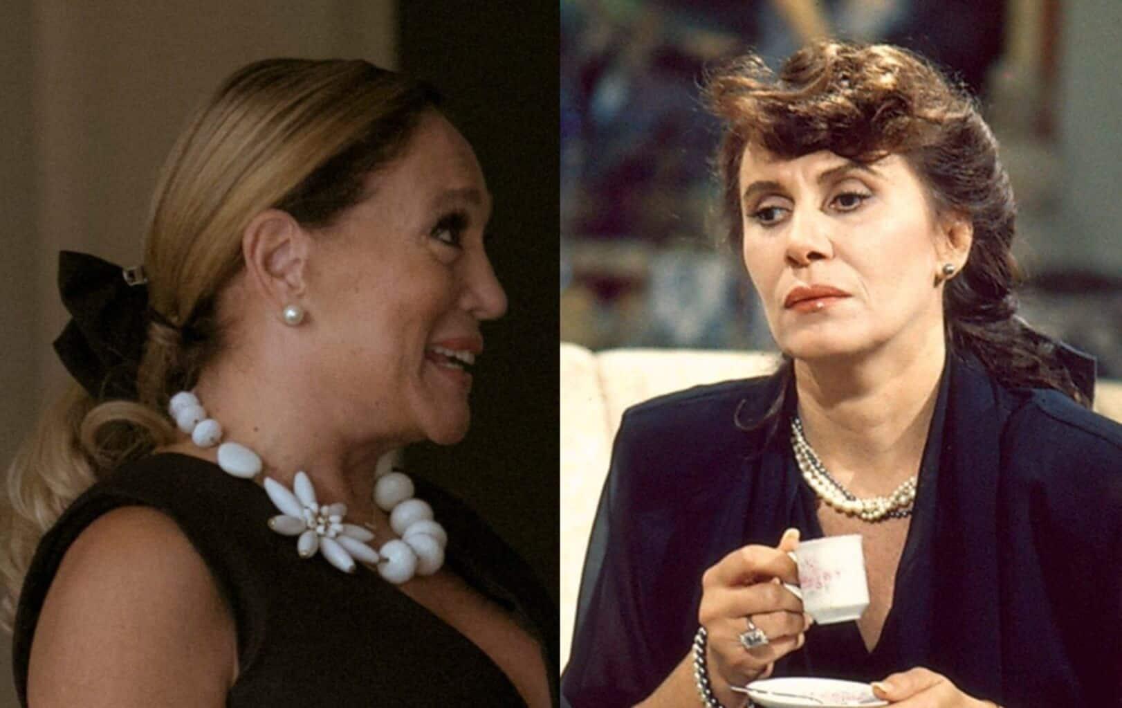 """Cora (Susana Vieira) de """"Os Dias Eram Assim"""" usa laço de veludo, moda de Carolina (Renata Sorrah) em """"Roda de Fogo""""."""