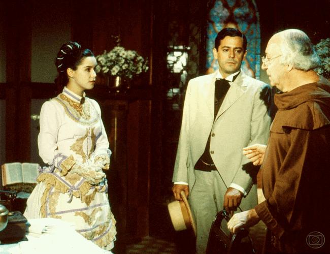 """Lucélia Santos, Marcos Paulo e Sérgio Viotti em cena de """"Sinhá Moça""""; trama será exibida no Viva."""
