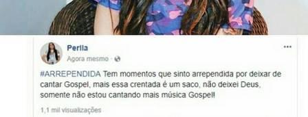 """Após deixar música gospel, Perlla se revolta com críticas: """"Essa crentada é um saco"""""""