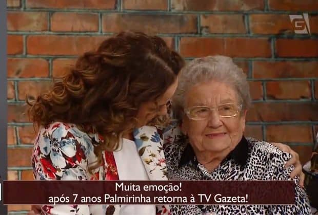 Palmirinha volta à TV Gazeta após 7 anos, se emociona e diz que se sente em casa