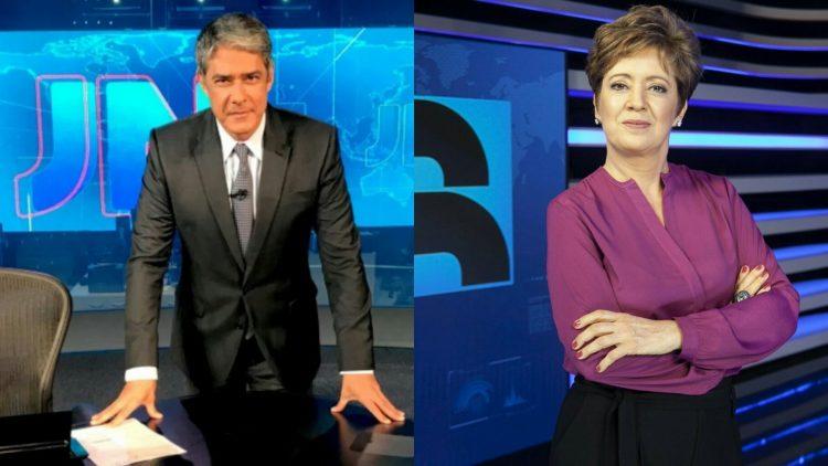 William Bonner e Christina Lemos comandam os principais telejornais de Globo e Record