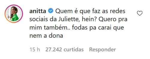BBB 2021: Juliette recupera perfil no Twitter e recebe proposta especial de  Anitta