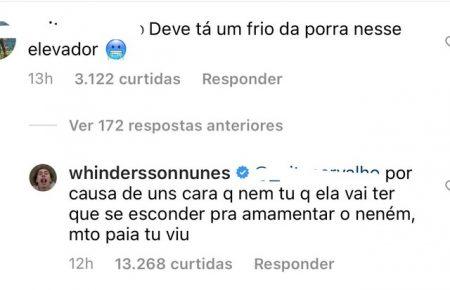 Whindersson Nunes rebateu comentário de seguidor no Instagram